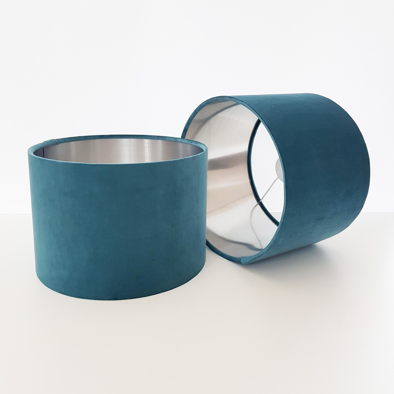 Teal Blue Velvet Lampshades with Silver Lining