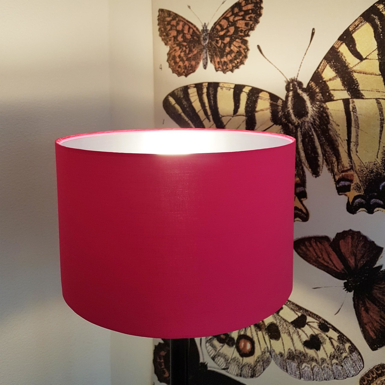 Lit Lampshade in Pink and Silver