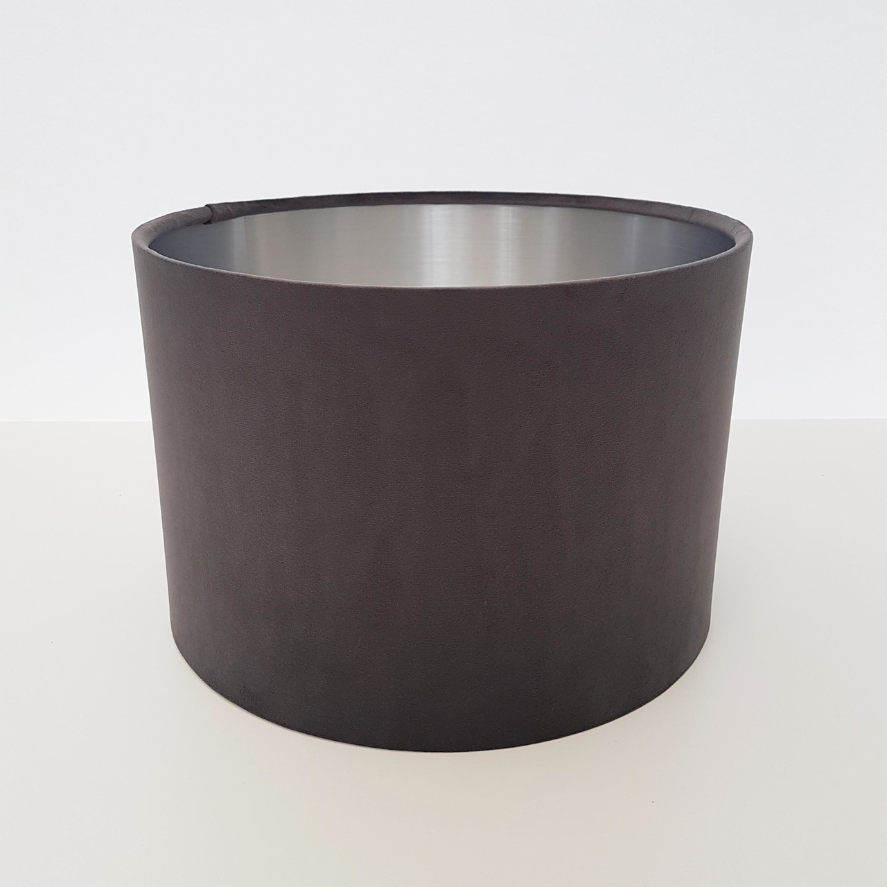 Top View - Charcoal Grey Velvet Lampshade with Silver Lining