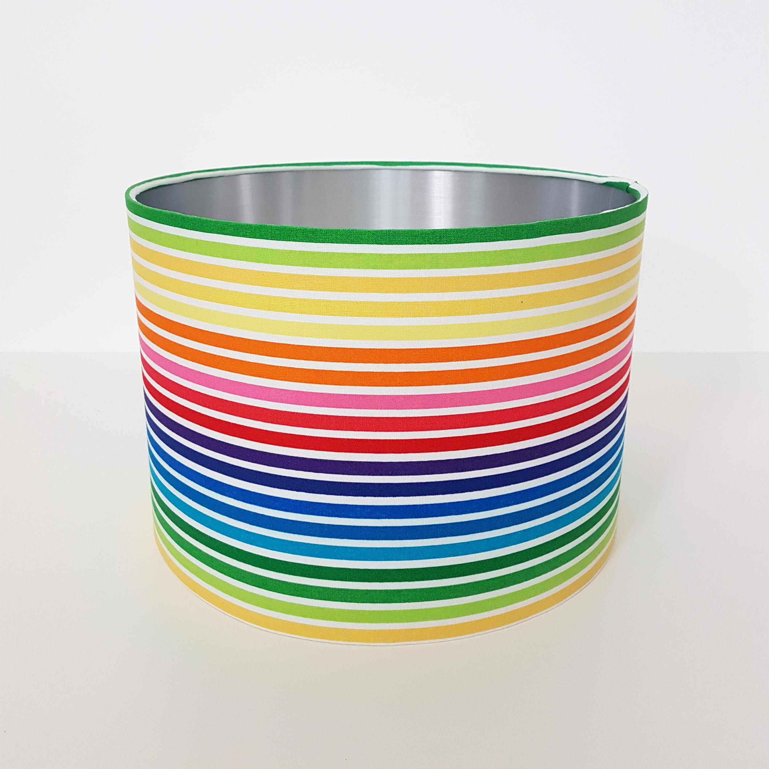 Rainbow Stripes Lampshade in Cotton with Silver Lining