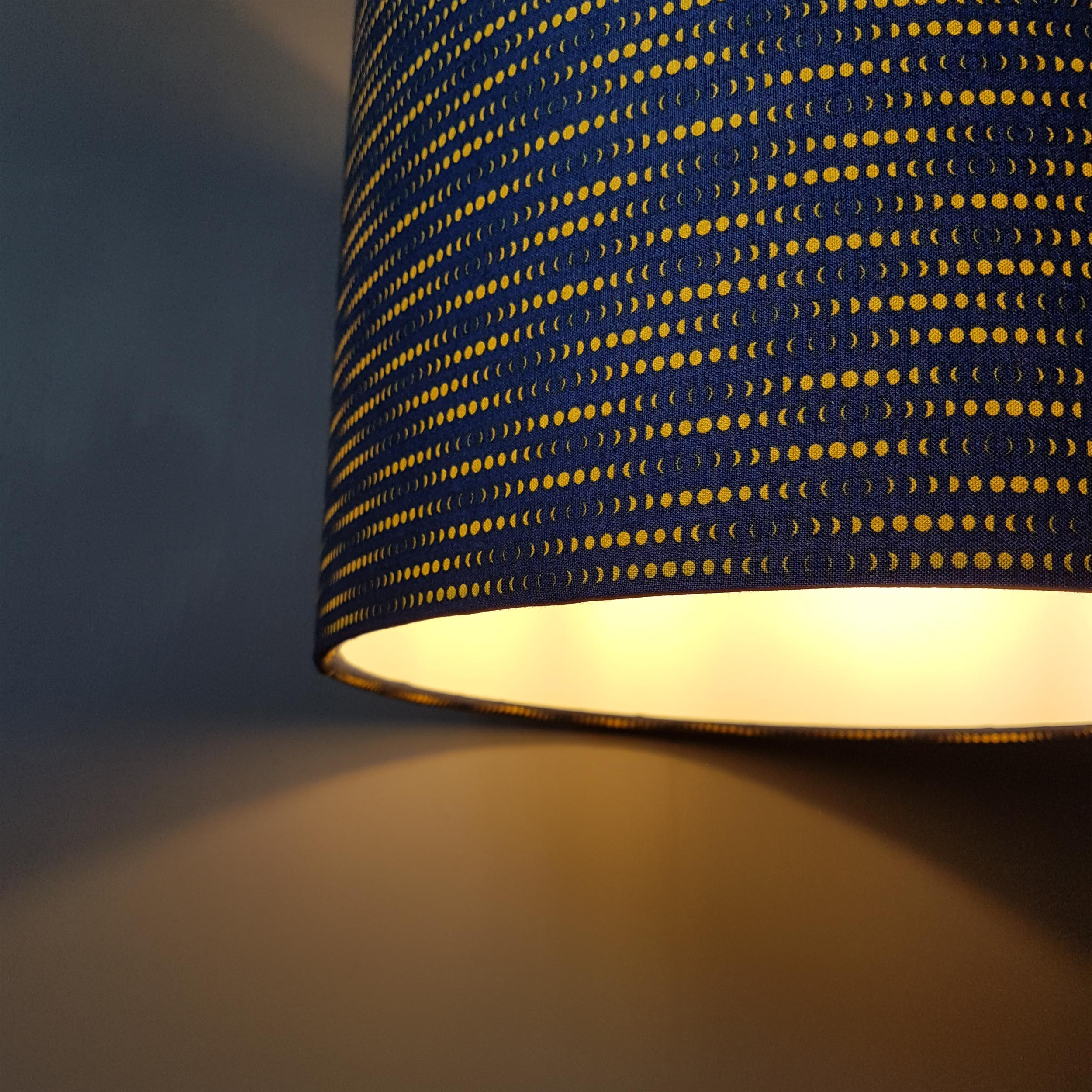 Navy Blue and Mustard Lampshade in a Moon Rabbit Cotton Fabric