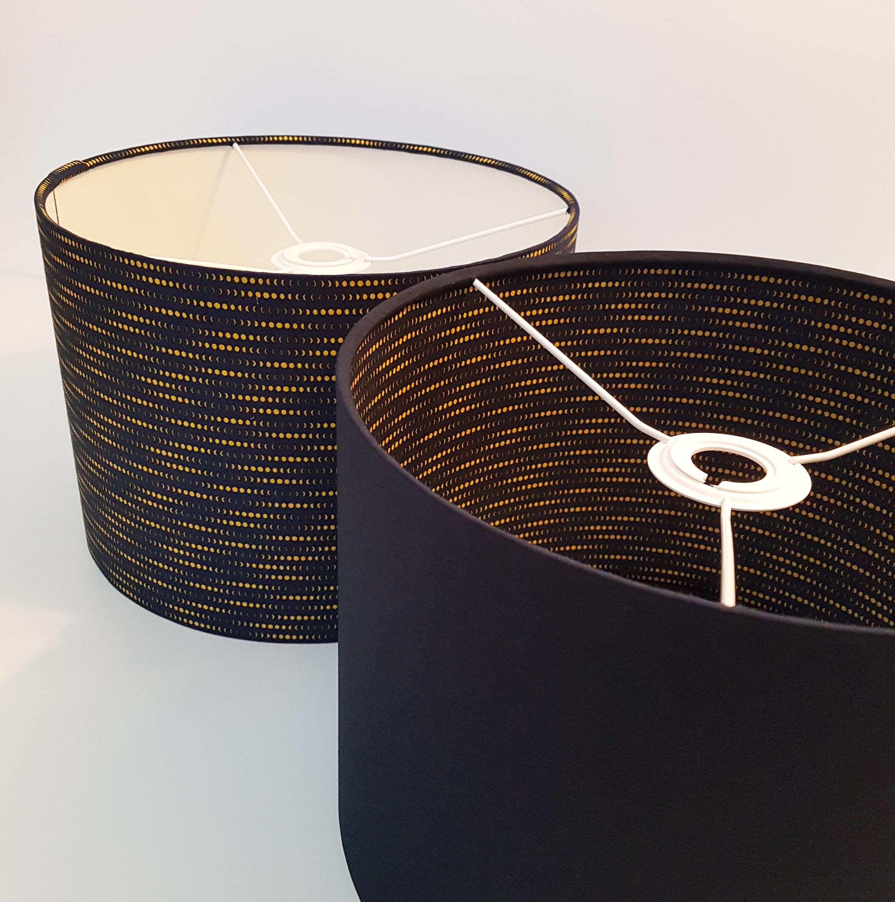 Navy Blue and Mustard Lampshade, Phases