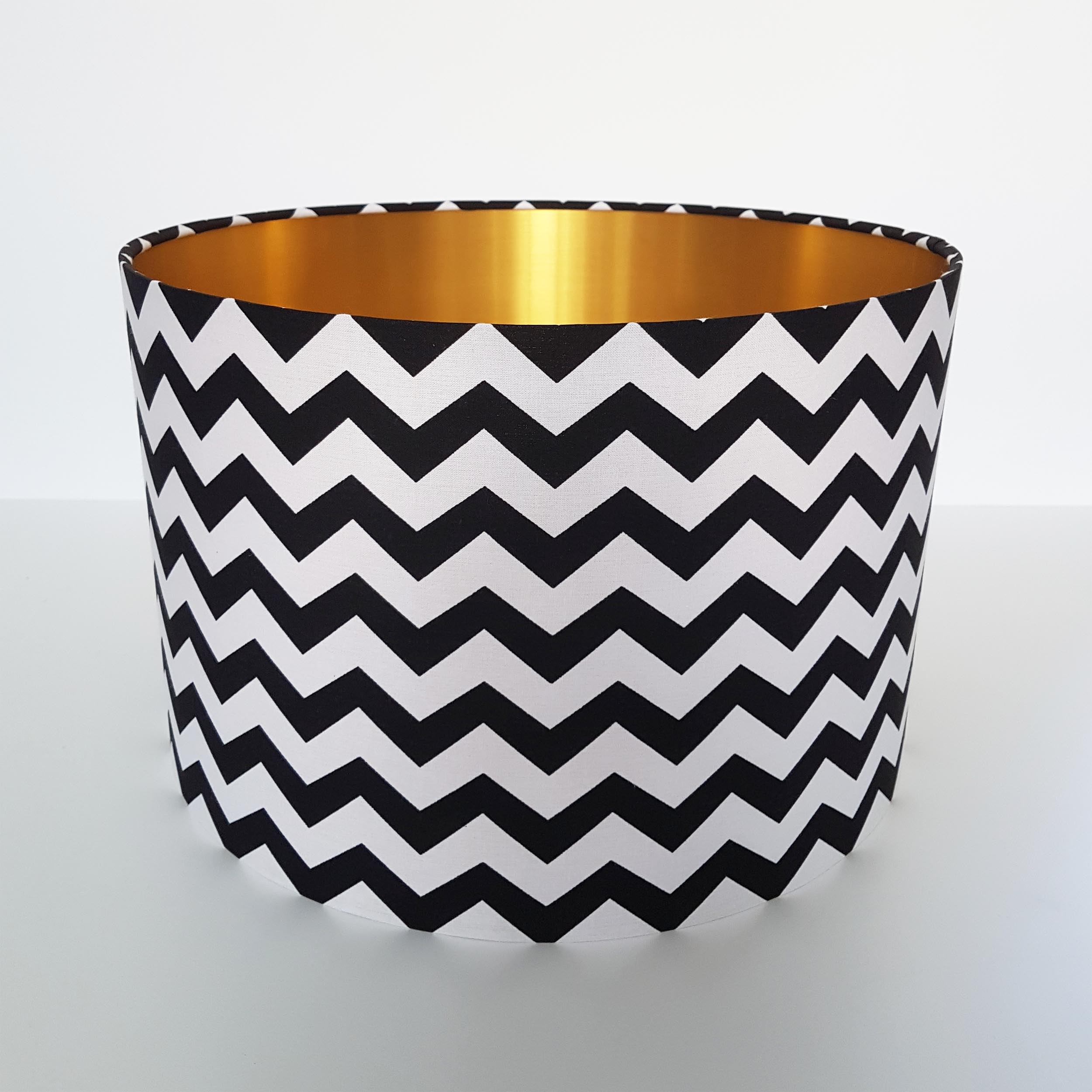 Black Chevrons and Brushed Gold Lampshade