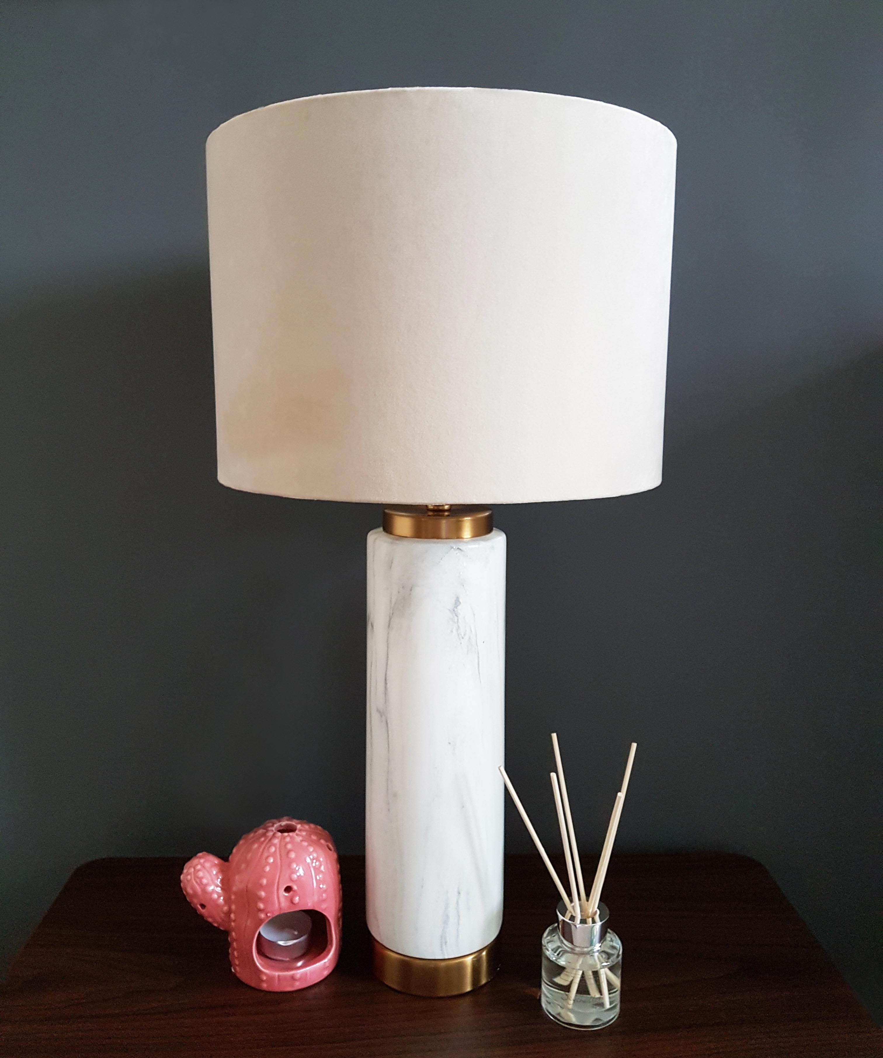 White Marble Table Lamp with Gold Accents and Cream velvet Lampshade