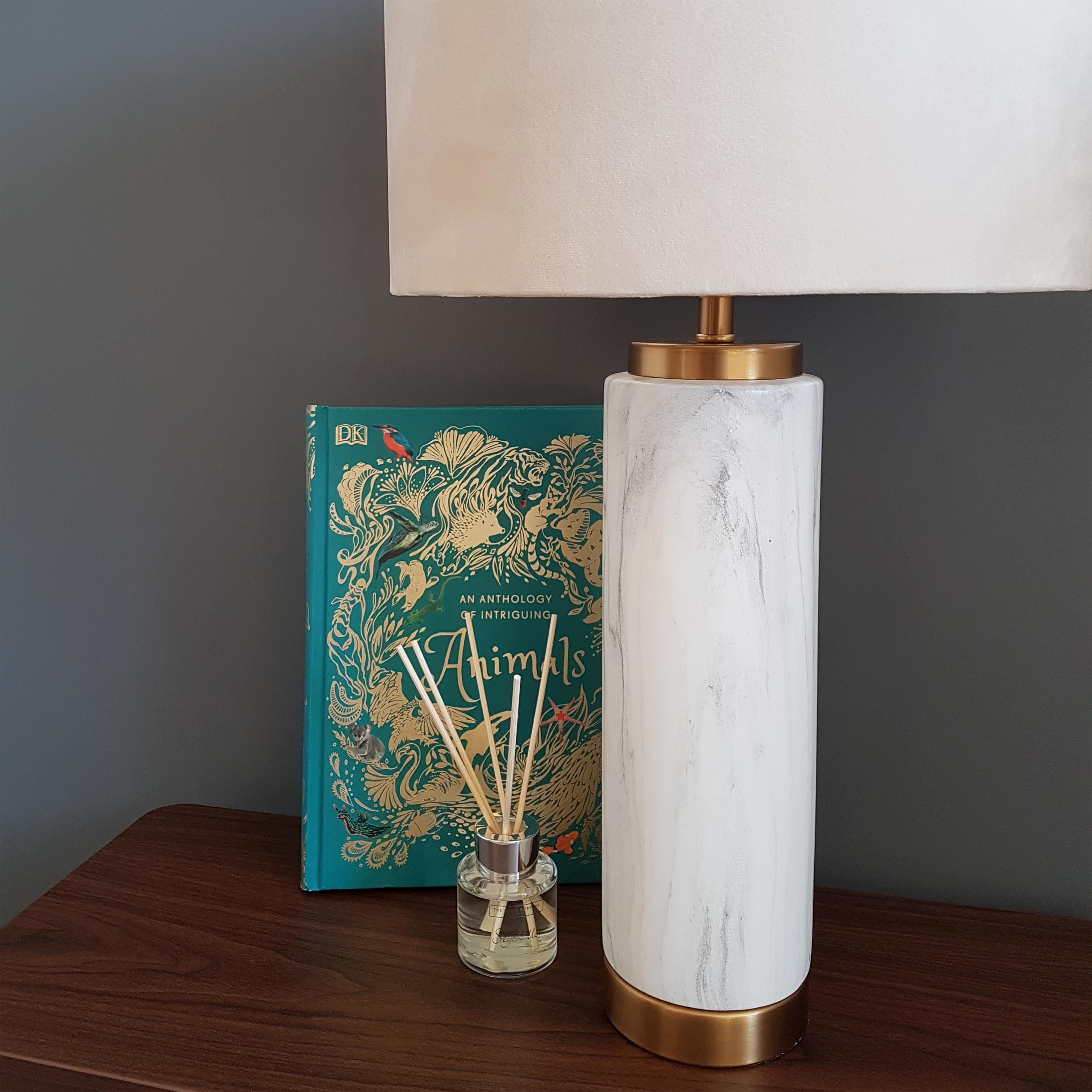 Marble Ceramic Lamp with Gold Details