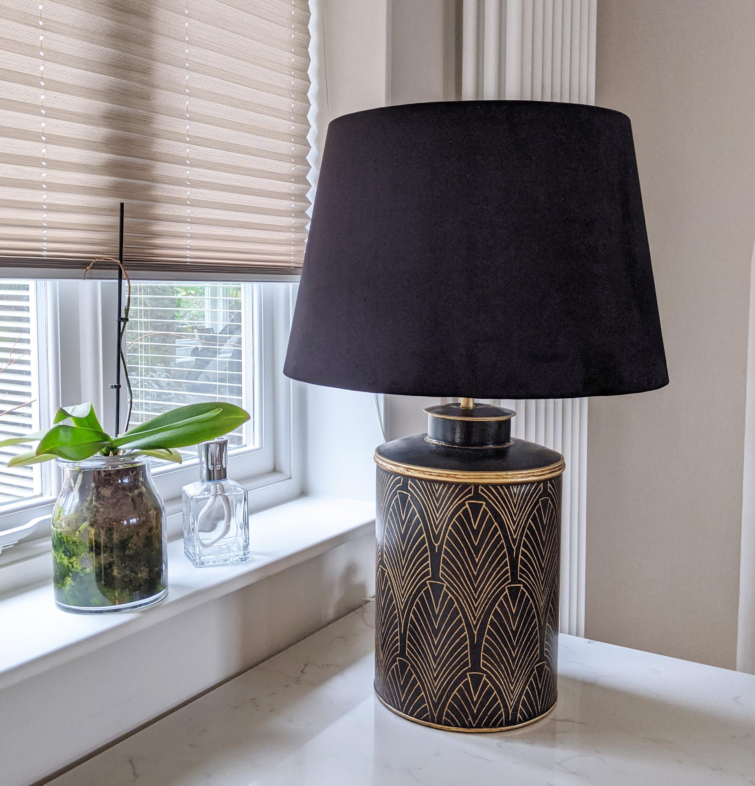 Large Black Art Deco Table Lamp with Gold Detailing