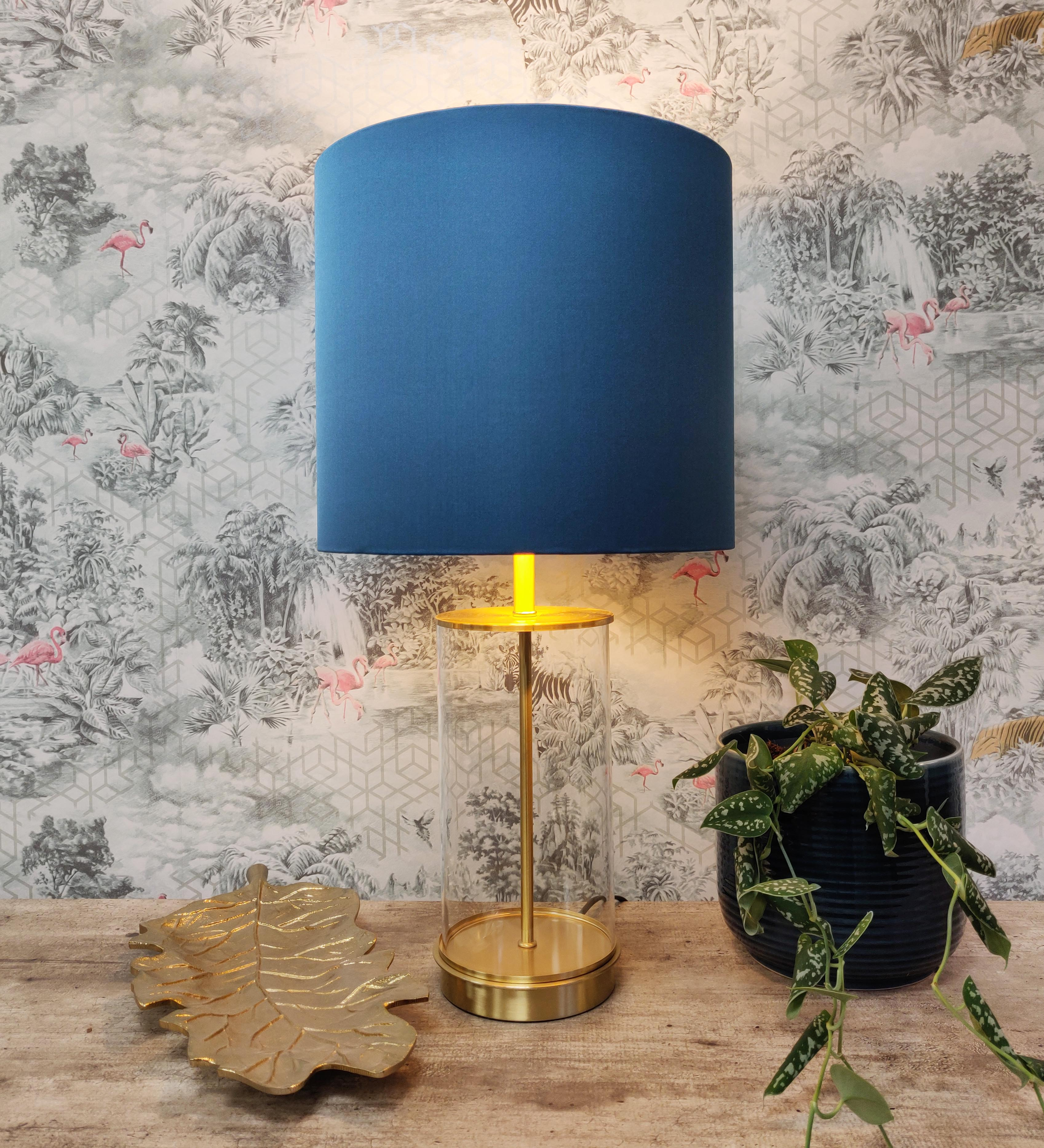 Teal Lampshade in a Satin Fabric
