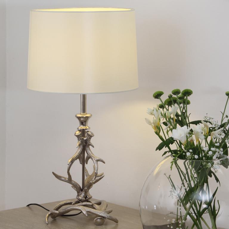 Silver antler style lamp, decorative lamp base