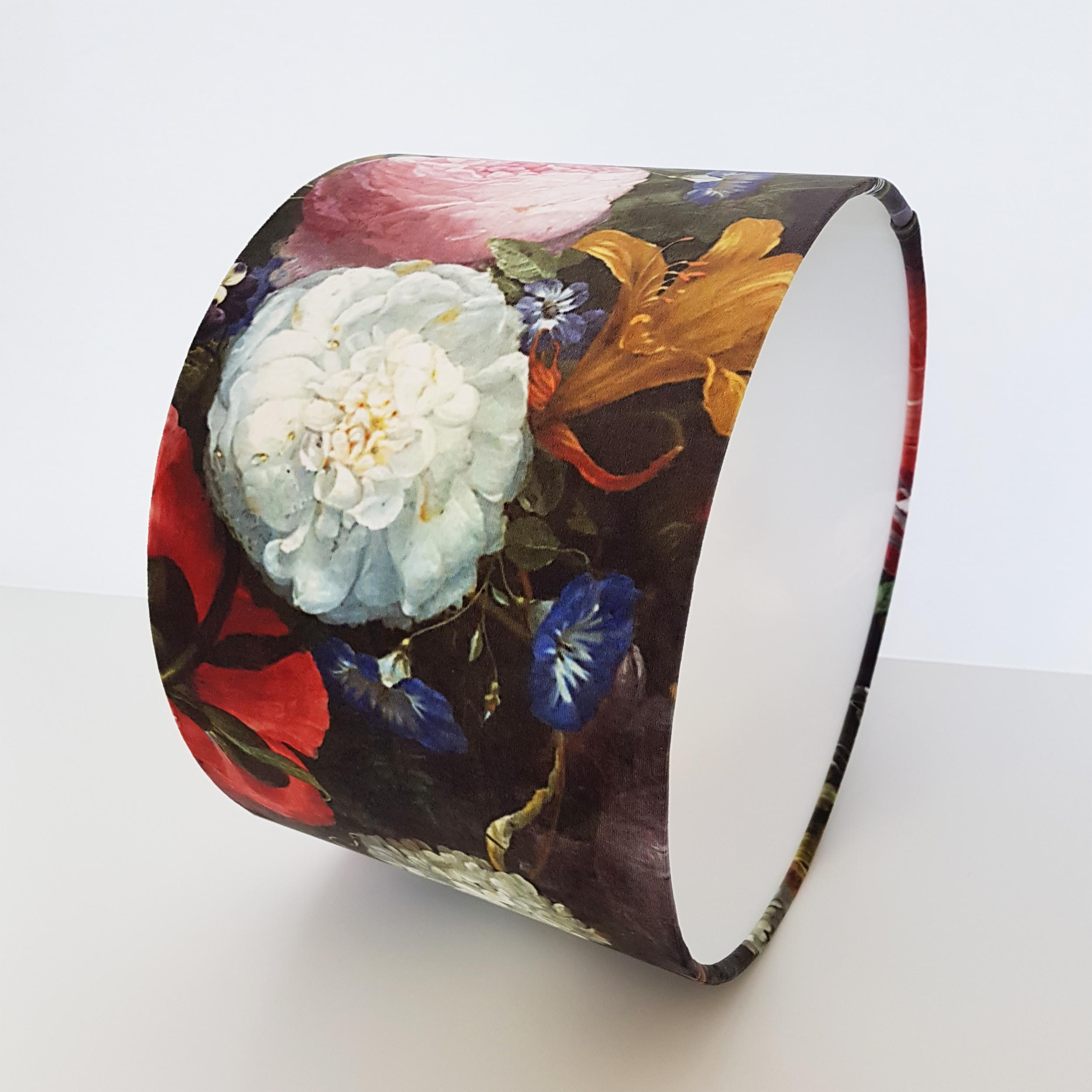 Flowers Lampshade in Velvet and White Lining