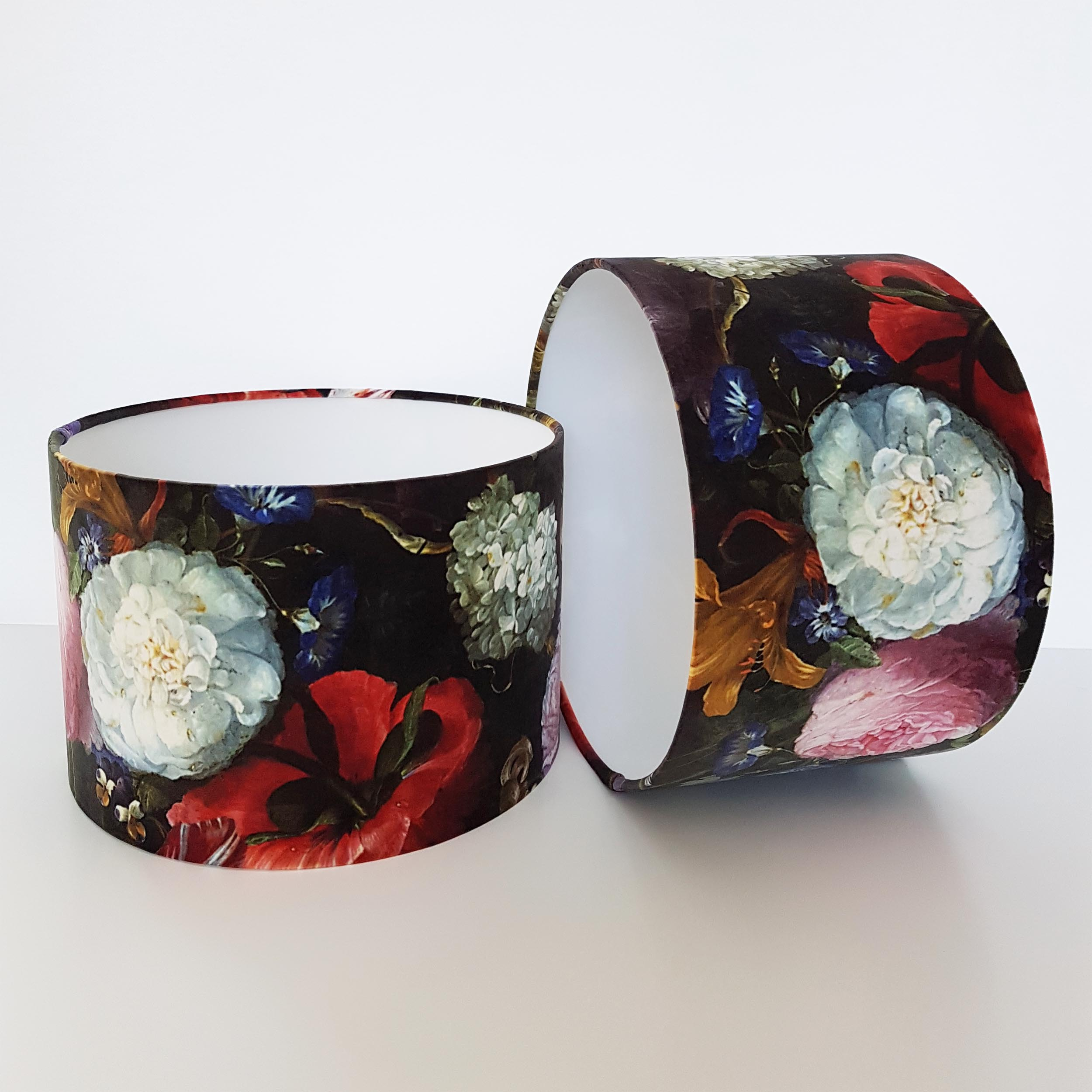 Bold Floral Lampshade in a Soft Velvet, featuring peony and blossom