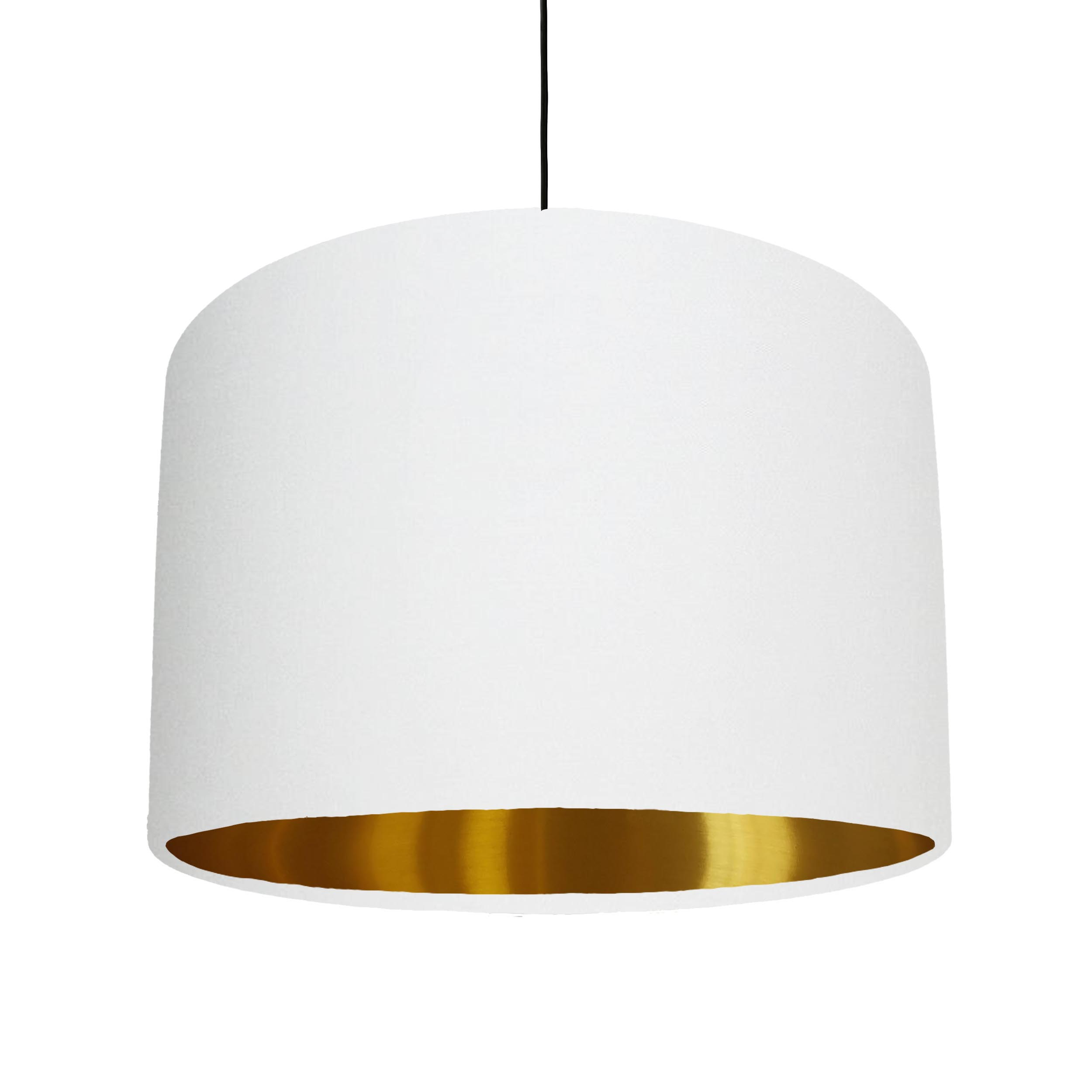White Cotton Lampshade with a metallic gold lining