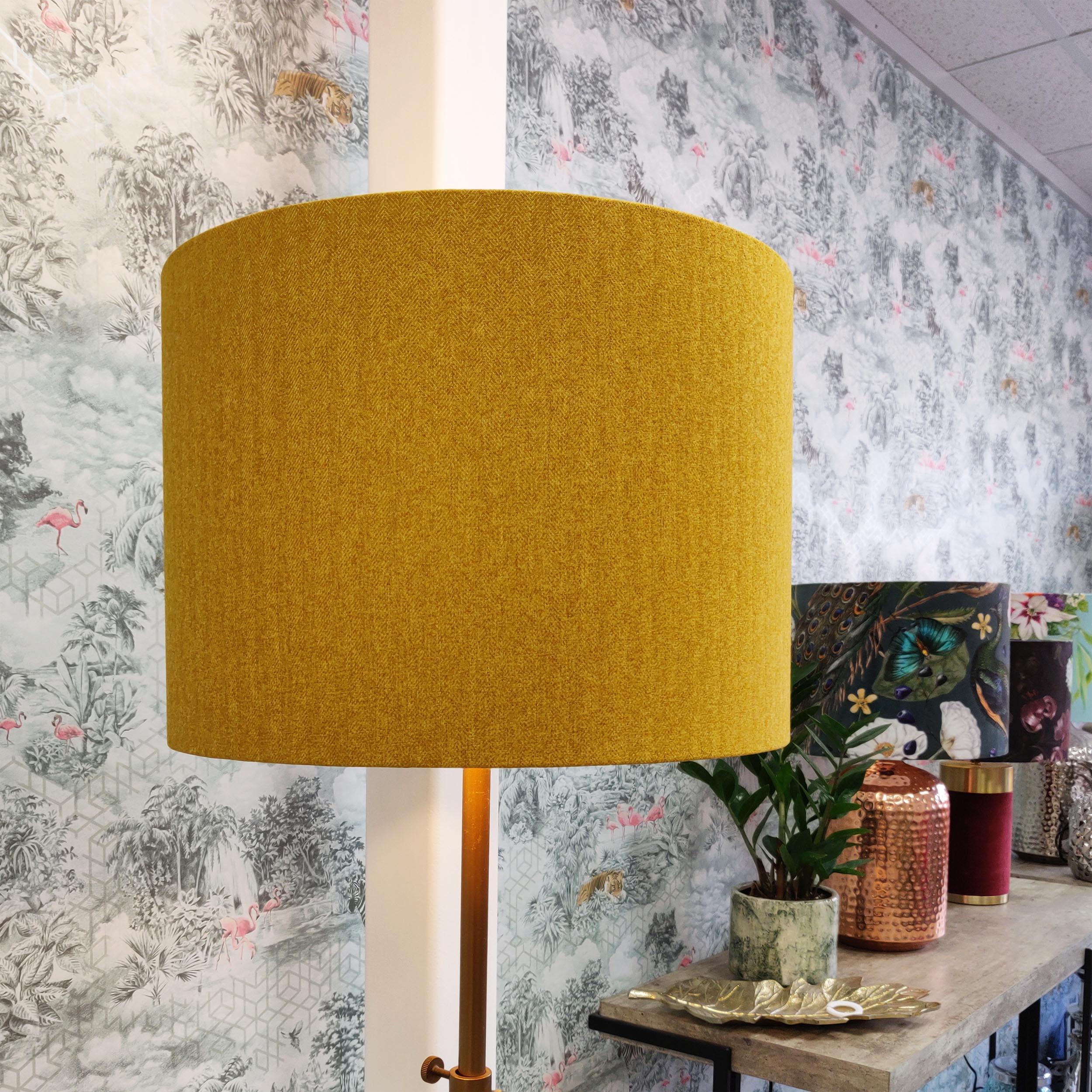 Mustard Lampshade in a Herringbone Tweed Design