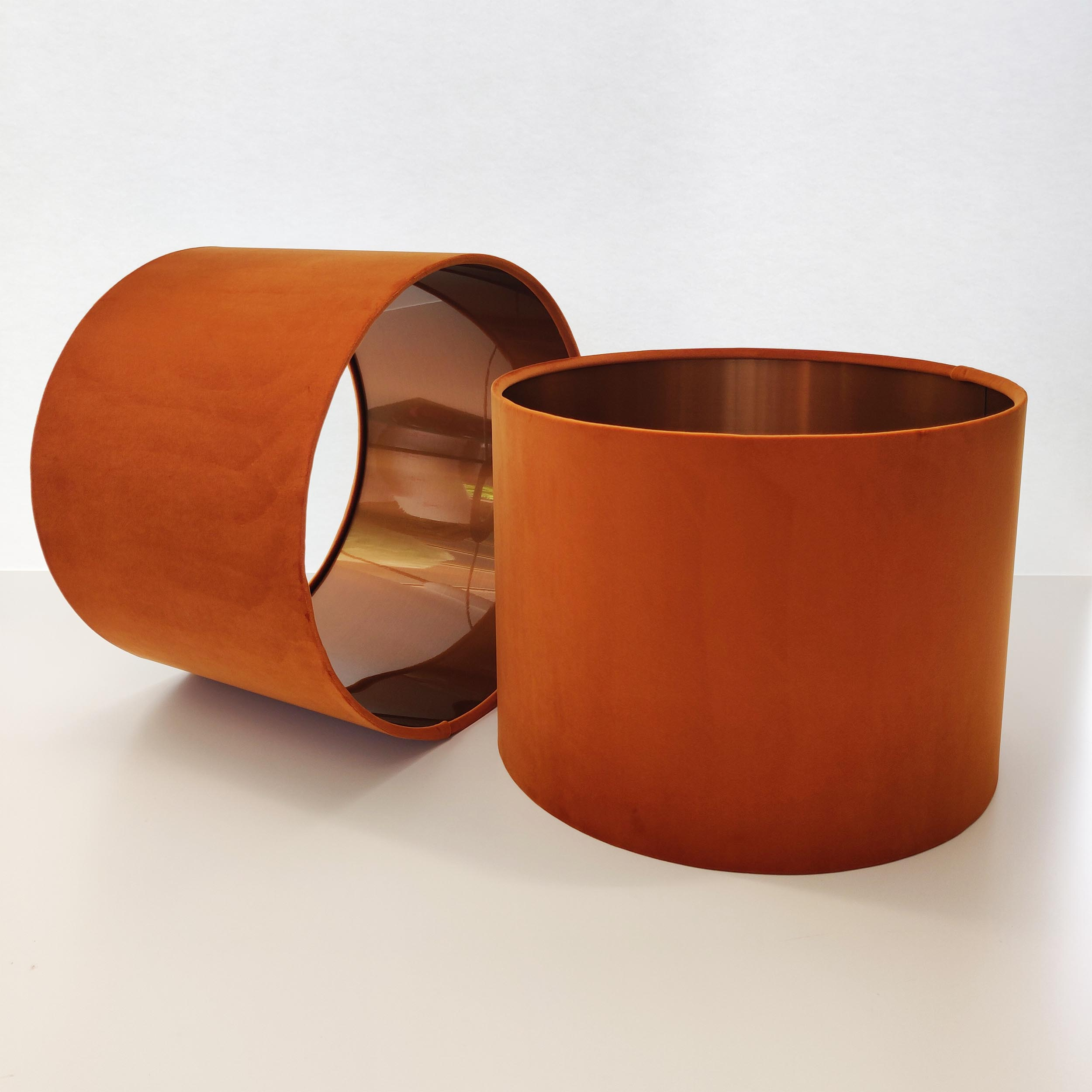 Burnt Orange Lampshade in Velvet with Brushed Copper Lining