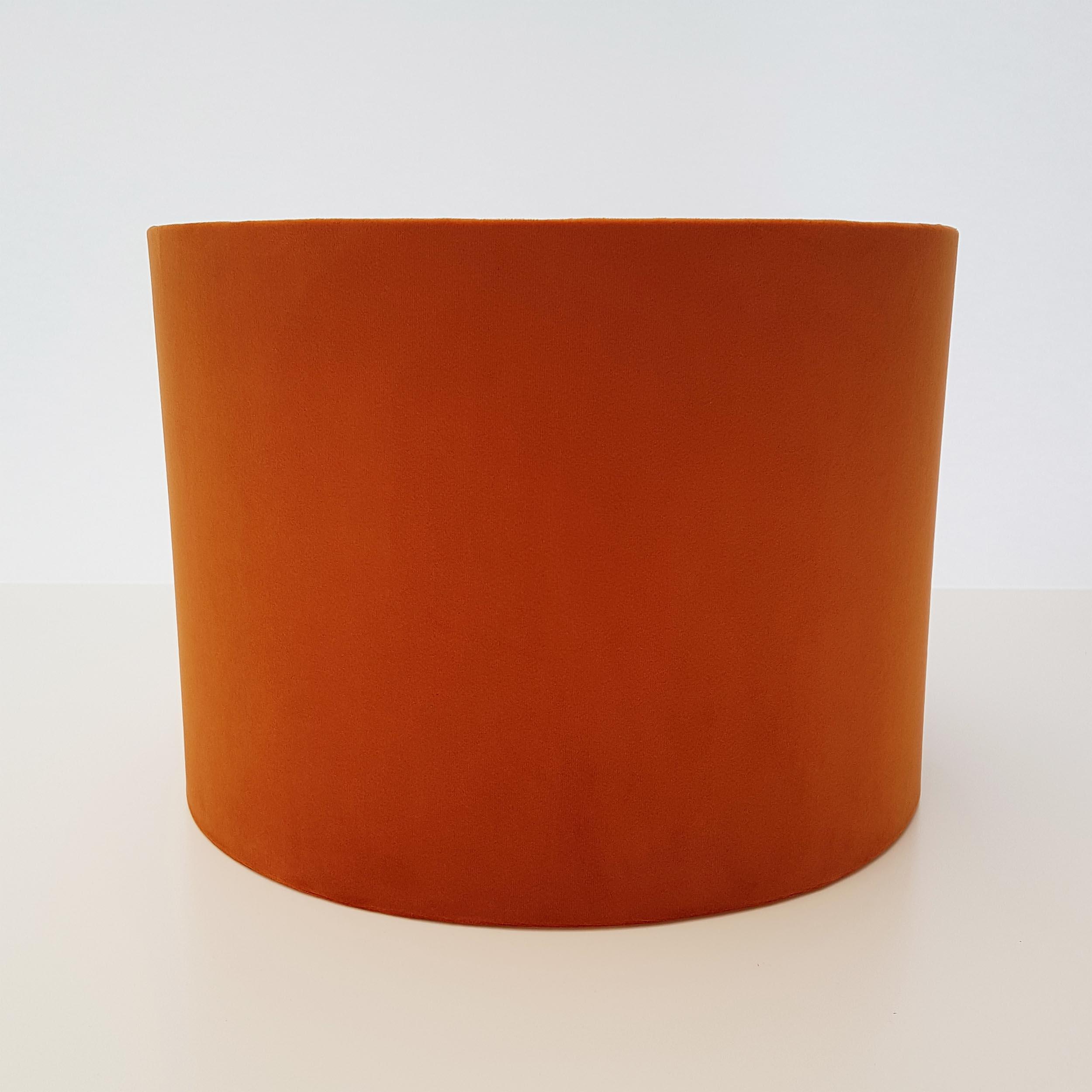 Burnt Orange Velvet and Copper Lampshade