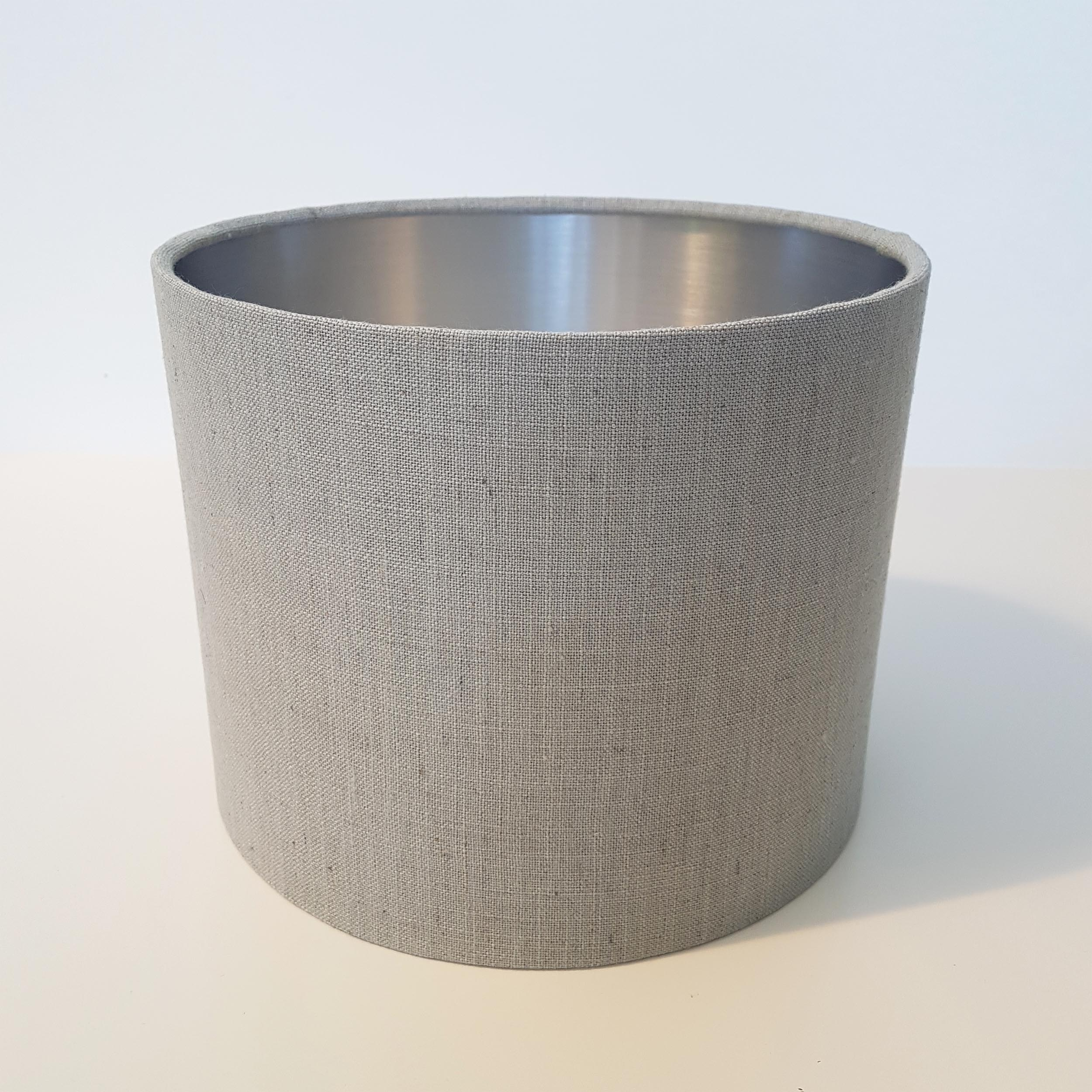 Dove Grey Linen Lampshade with Metallic Silver Lining