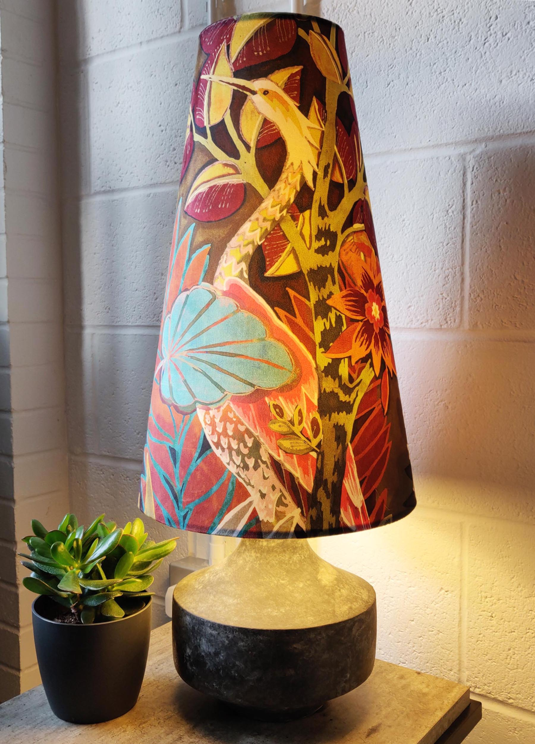 An example of one of Candid Owl's Extra Tall Cone Lampshades.