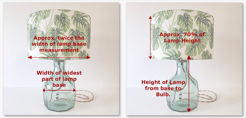 Image guidance on how to approximate the diameter and height of your required lampshade, based on your lamp base.