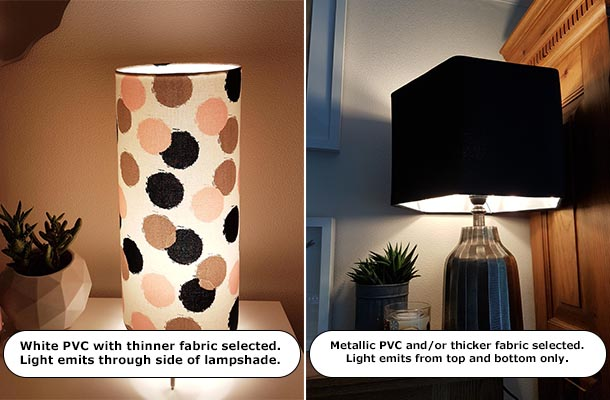 Visual representation of how light emits from Candid Owl lampshades, dependant on materials selected.