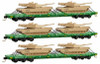 Micro-Trains N 99301610 DODX 'Cascade Green' Flat Car 3-Pack with M1 Abram Tank Loads