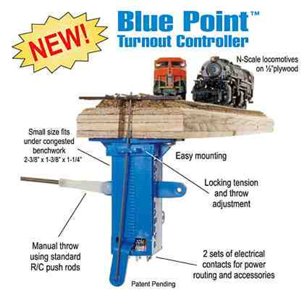 Turnout Controller// Easy Under Benchwork Mounting New Rail #40018 Blue Point