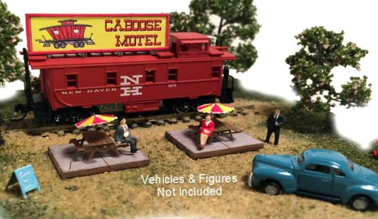 N Scale Architect N 10036 Trackside Series, Caboose Motel Kit with  Re-Purposed Caboose (Car Road Name/Number May Vary)