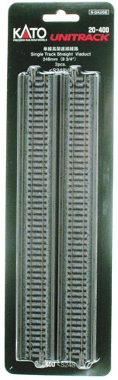 """9 3//4/"""" 2 Single Track Straight Viaduct Track UniTrack Kato 20-400 N 248mm"""