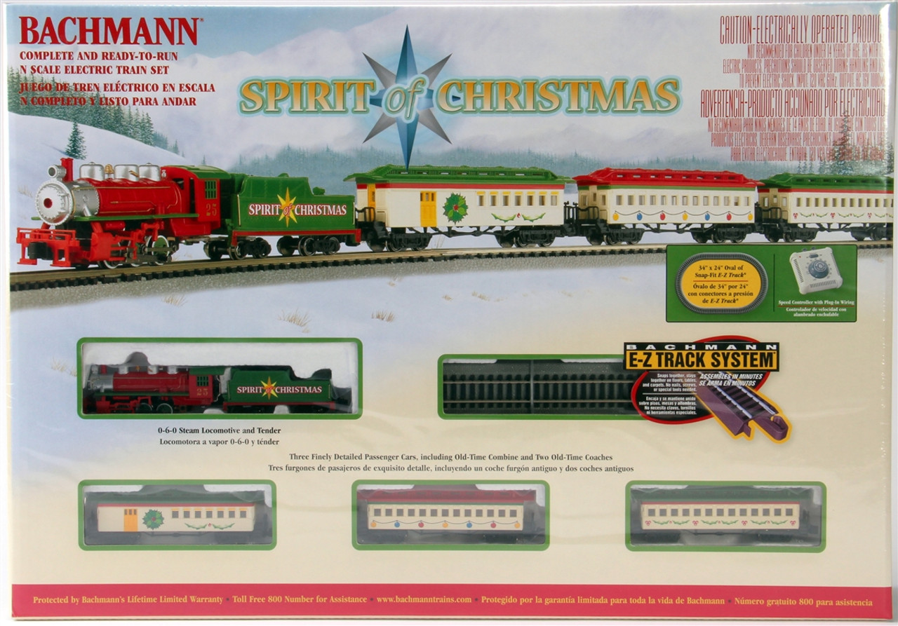 Christmas Model Railway.Bachmann N 24017 Spirit Of Christmas Electric Train Set With E Z Track