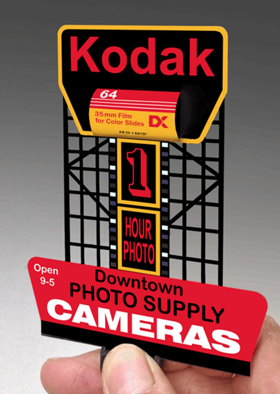 Miller Engineering N/HO 44-0902 Small Kodak Billboard, Animated Neon Style  Sign Kit