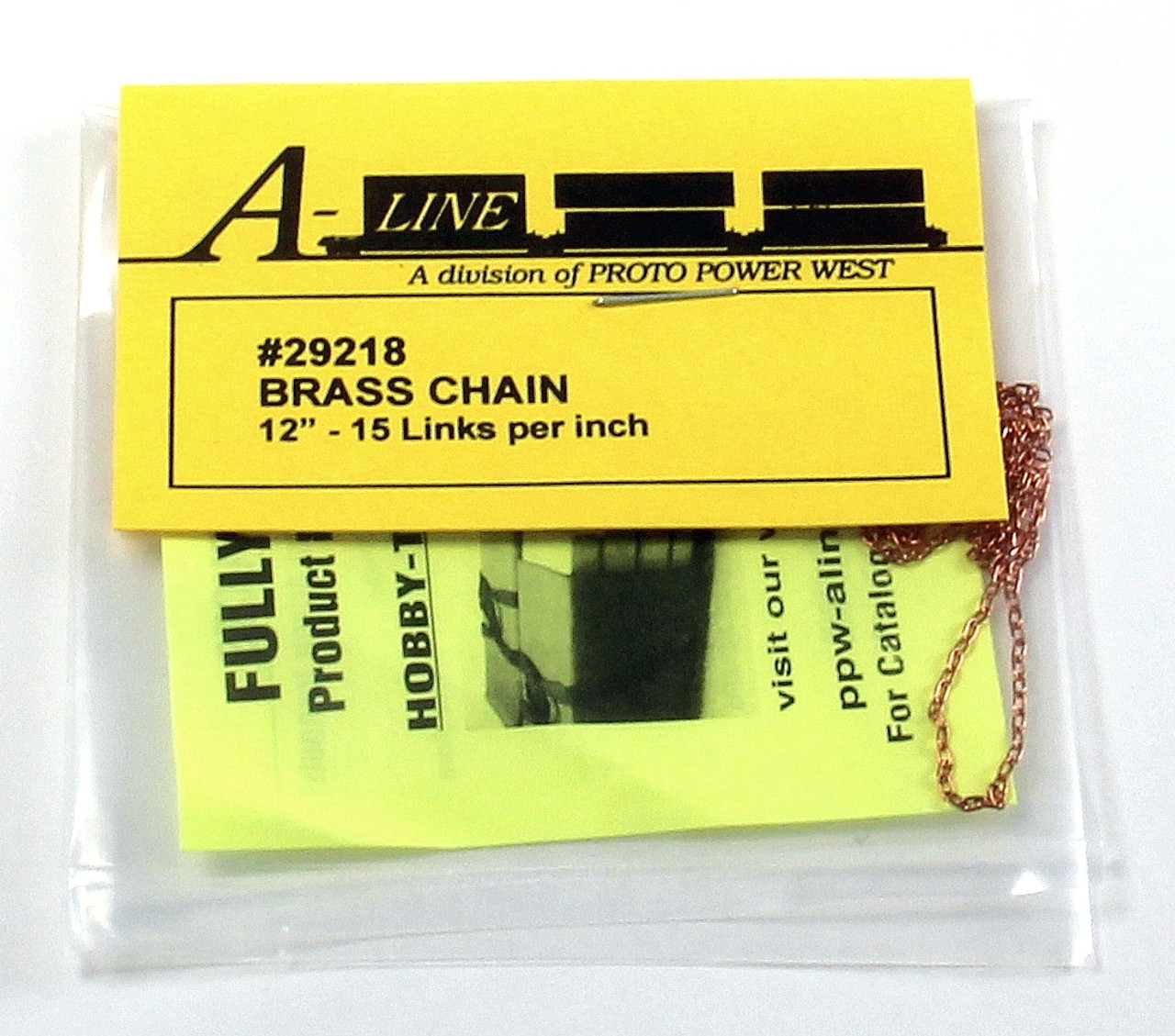 """12/"""" A-Line HO #29271 Brass Chain 6 Links Per Inch"""
