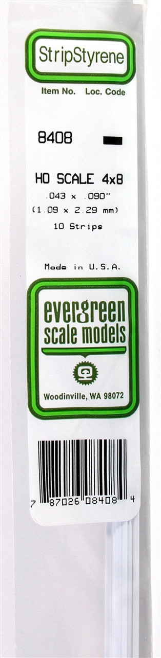 Evergreen EVG8408 HO Strip 4 x 8 10
