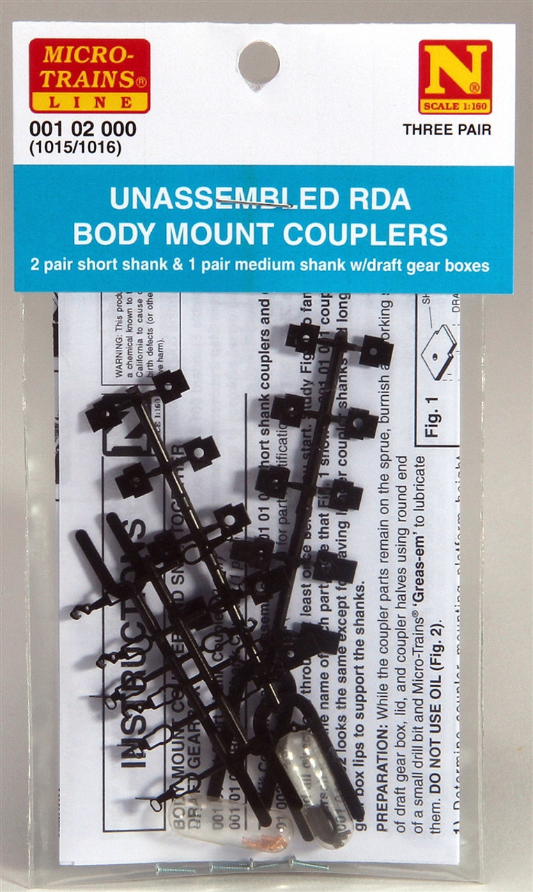 3 PAIR 1015//1016 MICRO TRAINS {001 02 000} UNASSEMBLED RDA BODY MOUNT COUPLERS