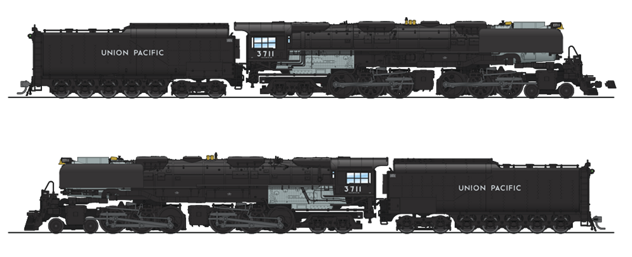 Broadway Limited Imports HO 4981 4-6-6-4 Challenger with Oil Tender, Union  Pacific #3711 (Paragon3 Sound/DC/DCC Equipped)