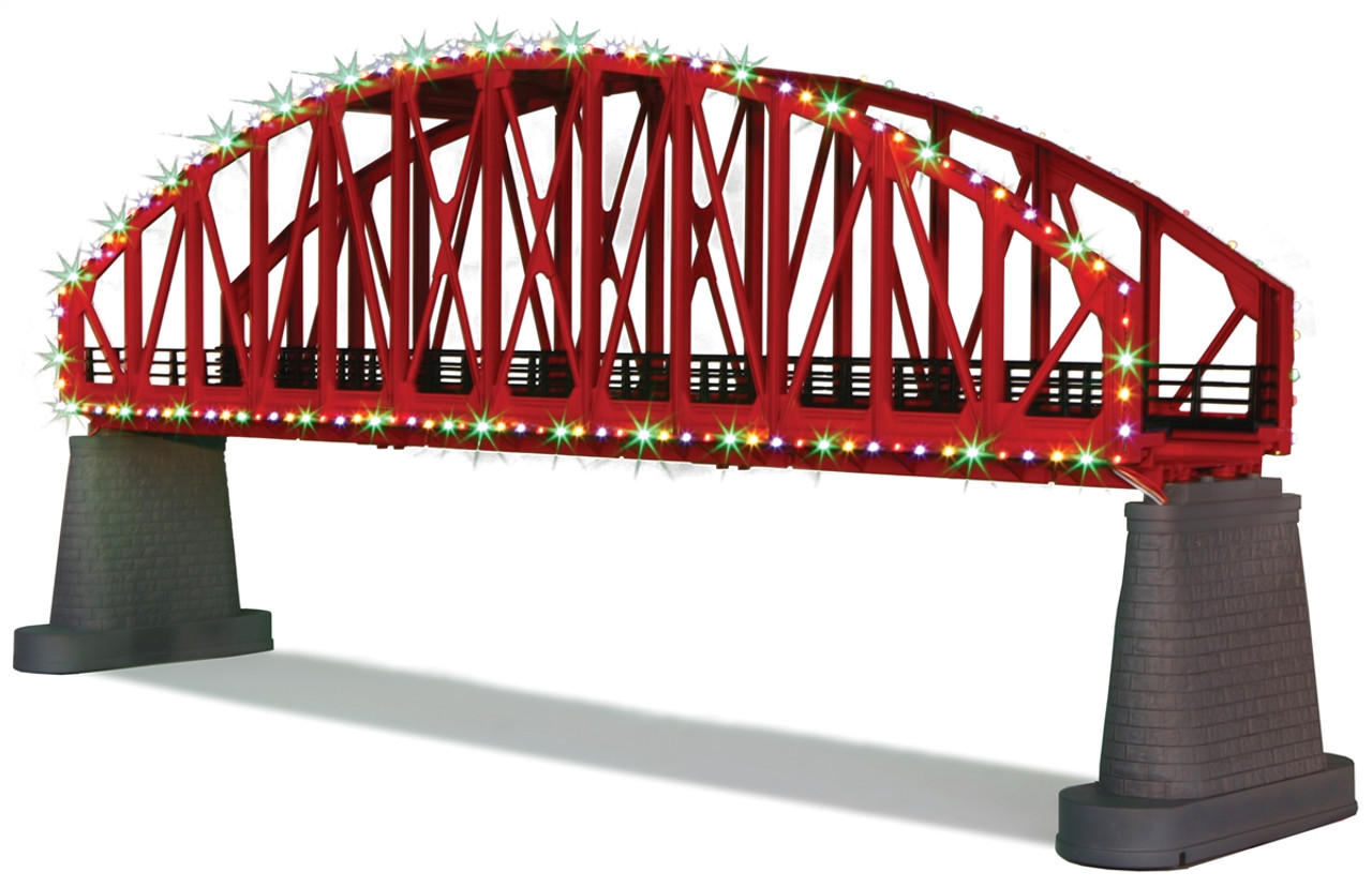 MTH RealTrax O 40 1115 Steel Arch Bridge With Operating Christmas Lights Red