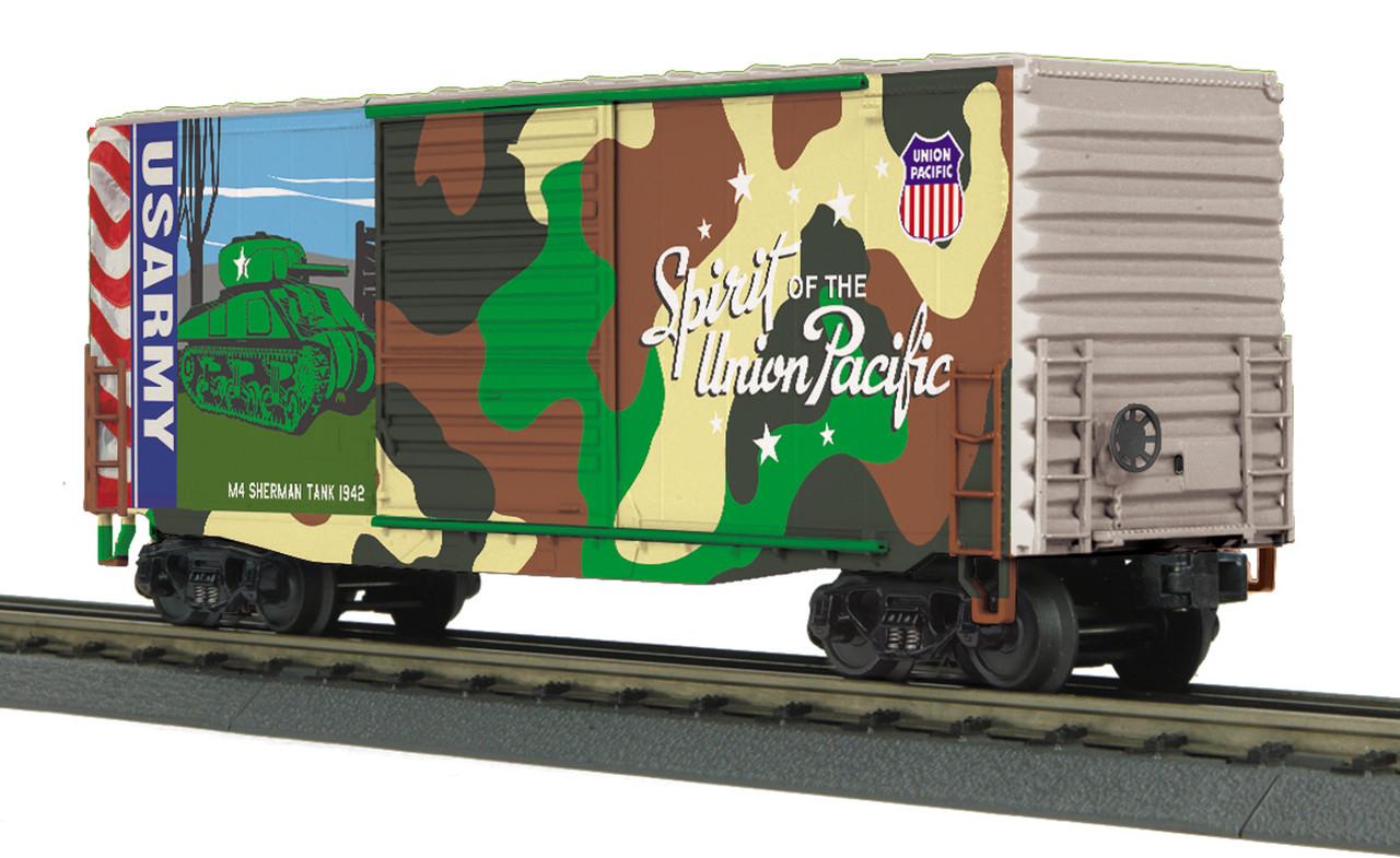 mth railking o 30 74928 40 high cube box car union pacific army