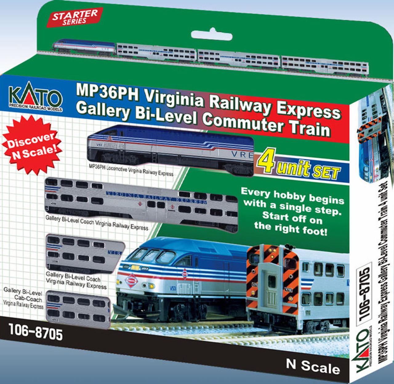 Kato N 1068705 MP36PH Virginia Railway Express Gallery Bi-Level Commuter  4-Unit Train Set