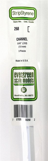 "Evergreen Scale Models 268 Channel .312"" (3)"