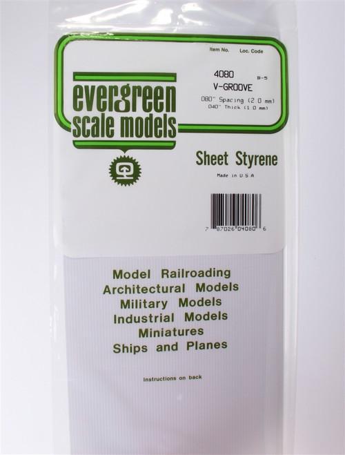 """Evergreen Scale Models 4080 6"""" x 12"""" V-Groove Sheet .040"""" x .080"""""""
