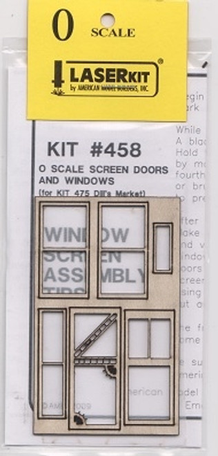 American Model Builders O 458 Screen Door and Window Set for Kit #475 Dill's Market