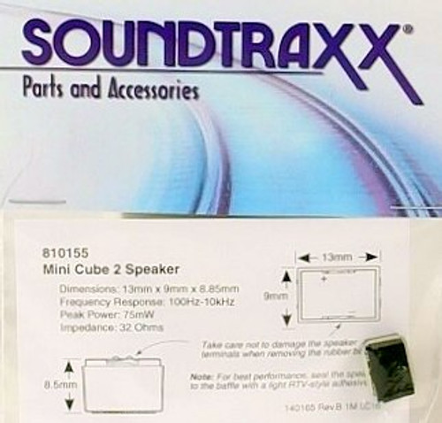 "SoundTraxx 810155 13mm x 9mm x 8.85mm(D) (0.511811"" x 0.354331""x 0.3484252"" ) Mini Cube Speaker"