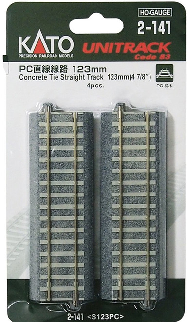 "Kato HO 2141 Unitrack 123mm 4-7/8"" Concrete Tie Straight Track (4)"