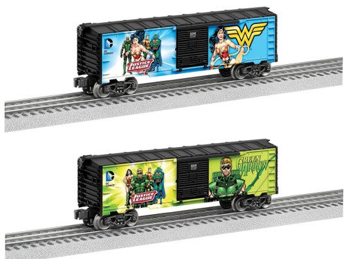 Lionel O 6-82947 3-Rail Box Car 2-Pack, Justice League, 1 Each: Wonder Woman, Green Arrow (d)