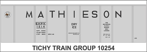 Tichy Train Group HO 10254 Mathieson Dry Ice 40' Insulated Steel Box Car Decal Set