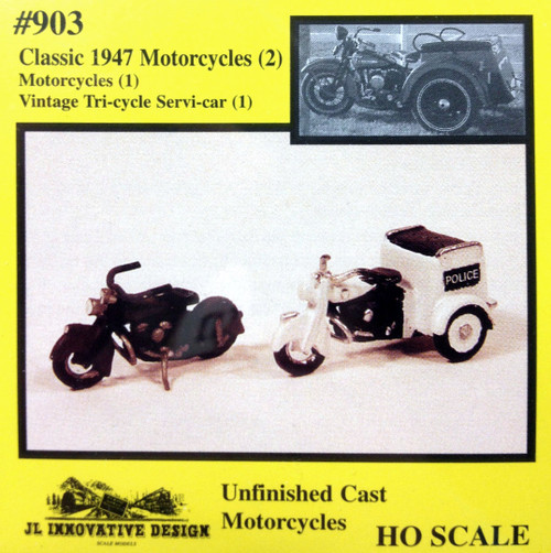 JL Innovative Design HO 903 Classic 1947 Motorcycles Kit (1 Motorcycle, 1 Vintage Tricycle Servi-Car)