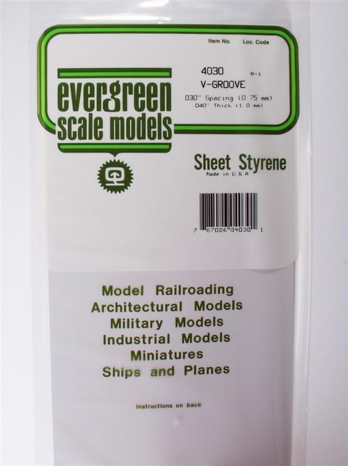 """Evergreen Scale Models 4030 6"""" x 12"""" V-Groove Sheet .040"""" x .030"""""""
