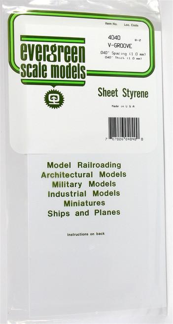 """Evergreen Scale Models 4040 6"""" x 12"""" V-Groove Sheet .040"""" x .040"""""""