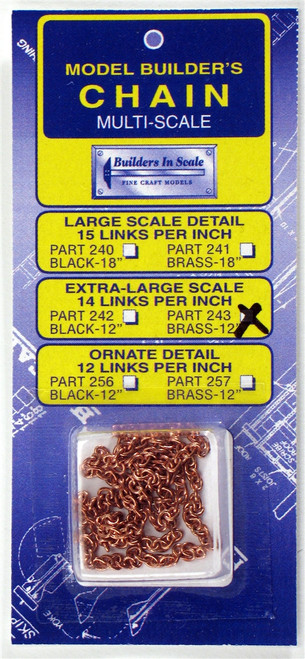 """Builders In Scale 243 X-Lg Scale Brass Chain (14-links per inch) 12"""""""