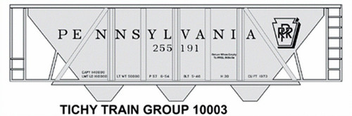 Tichy Train Group HO 10003 Pennsylvania Railroad H-30 Black Roman Print Decal Set for Gray Hopper Cars