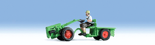 Noch N 37750 2-Wheel Tractor with Trailer and Driver, Red/Green