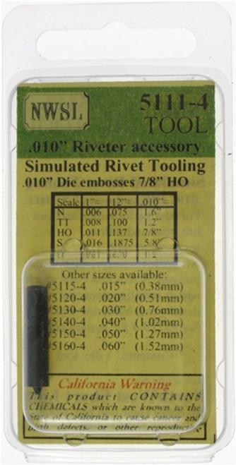 "NWSL 5111-4 Simulated Rivet Tooling, .010"" Riveter Accessory (.010"" Die Embosses 1"" HO)"