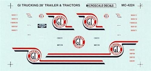 Microscale HO MC-4224 GI Trucking Company Tractor 28' Trailers (1980+) (d)